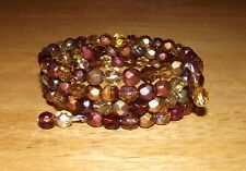 Maroon Amber Brown Gold Mix Czech Beads Coil Wrap BRACELET Made + Ships from USA
