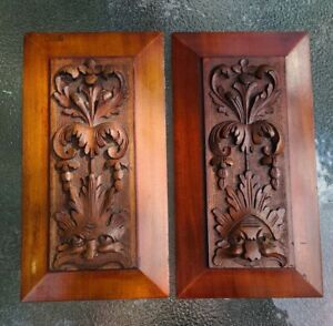 """PAIR (2) Antique Carved Architectural Solid Wood Panels with Faces 6"""" x 10.75"""""""