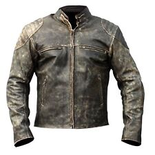 Men's Black Antique Leather Distressed Style Retro Motorcycle Riders Jacket