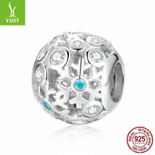 New 925 Sterling Silver Snowflake Zircon Charm Bead Jewelry Fit  Chain Christmas