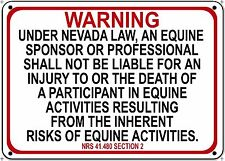 NEVADA Equine Sign activity liability warning statute horse farm barn stable