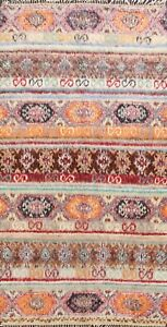 Color-full Geometric Quilt 7x10 Moroccan Oriental Area Rug Hand-made Wool Tribal