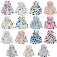 Kids Boy Girl Summer Sunscreen Jacket Printing Hooded Outerwear Zipper Coats