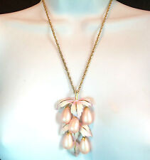 PARK LANE PRETTY PINK LEAF&TEARDROP PENDANT NECKLACE/BROOCH  VINTAGE ESTATE JEW