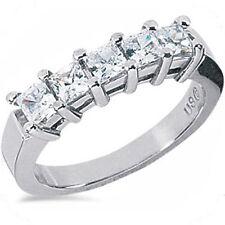 Platinum 5 Radiant Diamond Ring Wedding Band 2.27 carat E color VS clarity
