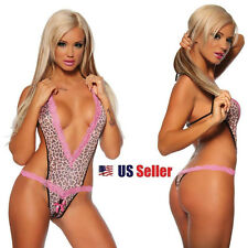 SEXY WOMEN LEOPARD TEDDY LINGERIE PINK UNDERWEAR - Stripper Intimate Apparel