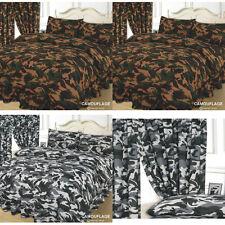 CAMOUFLAGE ARMY KHAKI GREEN OR BLACK & WHITE URBAN DUVET COVER BEDDING SET