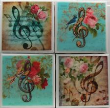 Handmade Stone Ceramic Tile Marble Drink Cup Coasters - Set of 4 - Music 2 A