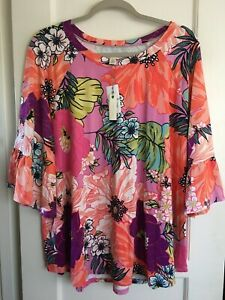 NWT $68 Cupio Long Knit Boho Top Shirt Tunic Bell Sl Stretch Plus Sz 3X Floral