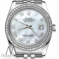 Ladies Rolex 31mm Datejust White MOP Mother Of Pearl Roman Numeral Dial Watch