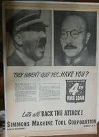 World War Two Ad: Hitler & Hirohito Haven't Quit ! 1944 Size: 15 x 22 inches
