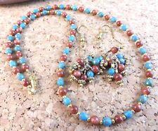 "Genuine Natural Sunstone Blue Bead Gold Filled 18"" Necklace Earrings Set #179"