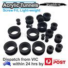 Black Acrylic Screw Ear Plugs Stretcher Tunnels Piercing Piercing 2mm-25mm