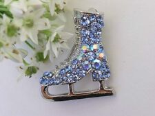 Fashionable Ice Skate Brooch with Lt Sapphire Australia Crystal P611A