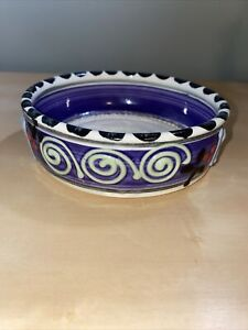 HAND PAINTED POTTERY STONEWARE Pet Bowl