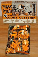 HALLOWEEN Trick or Treat Cooky Cutters 6 metal Cookie Cutters w/Box bat witch...