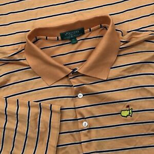A32 Masters Peter Millar Orange Blue Striped Polo Cotton Golf