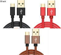 LEATHER FAST CHARGE 2.4A USB-C 3.1 Type C Charger Cable SAMSUNG GALAXY S8 S8+