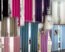 2 Pcs Solid Grommet Faux Silk Window Curtain Drapes Panels Treatment Mira