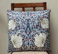 """Cushion in William Morris Pimpernel Blue Design 16"""" - Sanderson Fabric"""