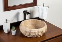 Stone Vessel Bathroom Sink - Chiseled Travertine