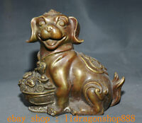 "9.2 ""Ancienne Chine Bronze Feng Shui Année Zodiaque Animal Chien Richesse Statue"