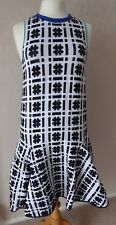 ISSA Silvia - size M - lovely WHITE/ Black monochrome check woven DRESS - BNWoT