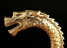 BRASS CLEAR MYTH DRAGON STATUE CANE WALKING STICK HEAD HANDLE ACCESSORIES GIFT