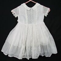 Vintage 50s White Sheer Cotton Girls Day Dress 12-24 Months 2T Eyelet Lace Full