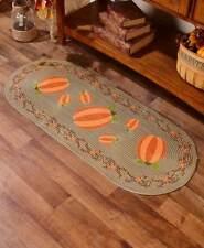 Pumpkin Patch Oval Braided Runner Rug 20 x 48 Thanksgiving Country Carpet Floor