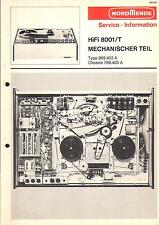 Nordmende Service Manual für Tonband HiFi 8001/T  mechan. Teil m. Schaltplan