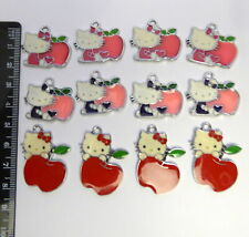 12 Hello Kitty (4 of each of 3 different  Enamel Charms) Craft Jewellery making