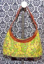Fieldcrest Green & Brown Floral Baguette Shoulder Bag Handbag Purse Womens USED