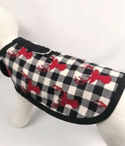 Buffalo Plaid Deer Winter Holiday Flannel Dog Harness Clothes Coat