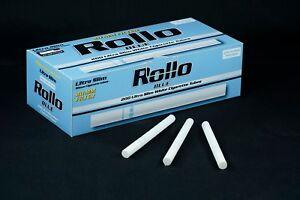 600 ROLLO BLUE ULTRA SLIM Lights Tobbacco Cigarrette Filter Tubes