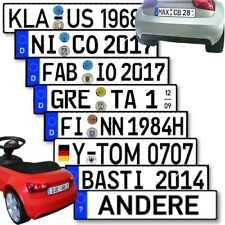 Namensschild Aufkleber Tretauto Trettraktor Rutscher Kinderfahrzeug Kennzeichen