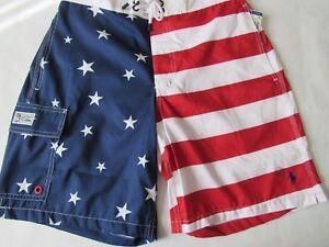 NWT POLO RALPH LAUREN AMERICAN FLAG SWIM-TRUNK, S, LAST ONE