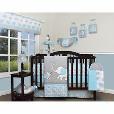 Blue Gray Elephant 13 pcs Crib Bedding Set Baby Boy Nursery Quilt Bumper Diaper