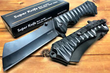 "9"" TACTICAL Spring Assisted Open Pocket Knife CLEAVER RAZOR FOLDING Blade Black"