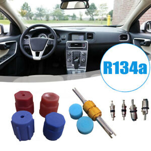 R134a Car Auto Air Conditioning Valve Core A/C System Caps Kit W/Remover Tool