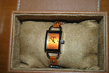 MK MICHAEL KORS copper face silver horsebit tan leather strap watch NEW IN BOX