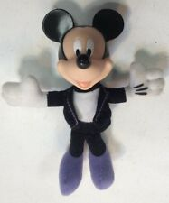 "Mickey Mouse Plush 5"" Tux Purple Feet Rubber Head Preowned Disney"