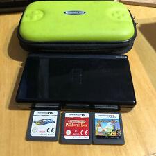Nintendo DS Lite Console Black + Carry Case + 3 Games NO CHARGER