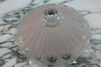 VNTG 20s 30s Art Deco Pink Frosted & Clear  Ceiling Light Fixture Shade 3 holes