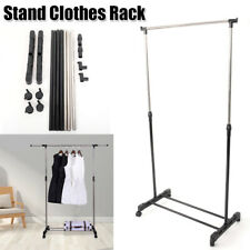 Home Single-bar Vertically-stretching Stand Clothes Rack with Shoe Shelf Silver
