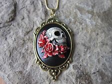 HAND PAINTED SKULL AND ROSES CAMEO GOLD TONE NECKLACE - UNIQUE, GOTH, G1