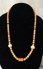 Antique Chinese Angel Skin Coral Hand Carved Shou Flower 14k gold Clasp Necklace