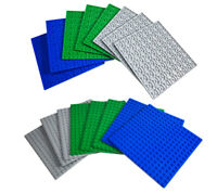 """Brick Loot Baseplate Bundle - 8 pack of 16x16 - 5"""" x 5"""" Double Sided Stackable"""