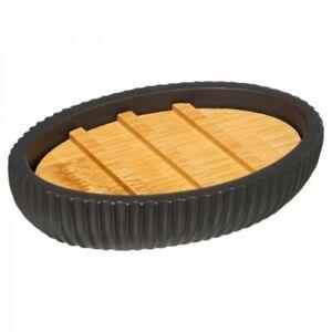 Elegante Seifenschale Seifen-Schale Seifendose Soap Dish mit Holzeinsatz schwarz