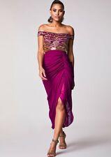 Virgos Lounge Pink Gold Caz Embellished Bardot Cocktail Midi Party Dress 6 to 14